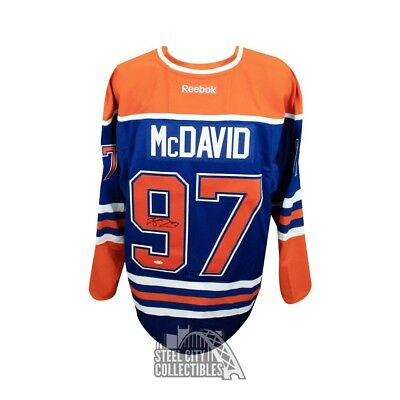 (Connor McDavid Autographed Blue Edmonton Oilers Authentic Reebok Jersey - UDA)