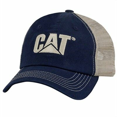 Caterpillar CAT Equipment Blue & Khaki Twill and Nylon Mesh Cap/Hat