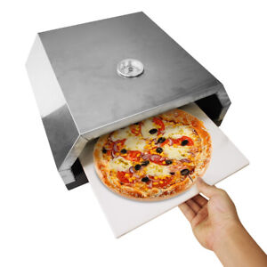 Outdoor Pizza Oven Portable BBQ Stone Base Temperature Gauge Steel Box