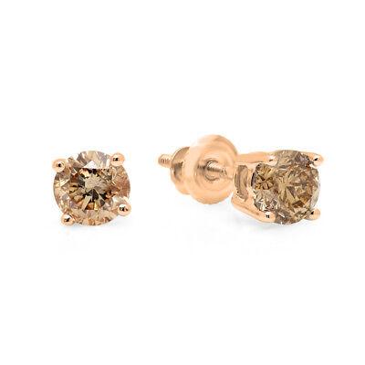 Gold Champagne Diamond Earrings - 0.33 CT 14K Rose Gold Round Cut Champagne Diamond Ladies Stud Earrings