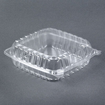 8x8x3 Clear Plastic Containers Hinged Lid Food Salad Take Out 10 Boxes