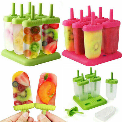 6x Pack Large Ice Lolly Cream Maker Mold Popsicle Mould Frozen Yogurt Icebox CAK