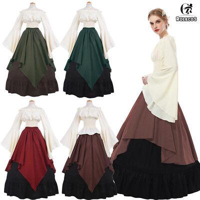 Medieval Women Long Bell Sleeve Queen Gown Wedding Dress Shirt Skirt Set (Bell Sleeve Womens Kostüm)
