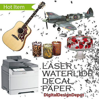 Laser Waterslide Decal Paper Clear 5 Sheets 8.5x11