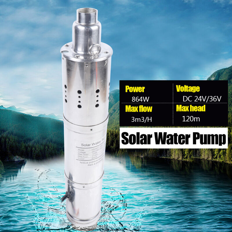 864 W DC 24V 120m Submersible Water Pump 3m³/h Solar Deep Well Pump 32mm Outlet
