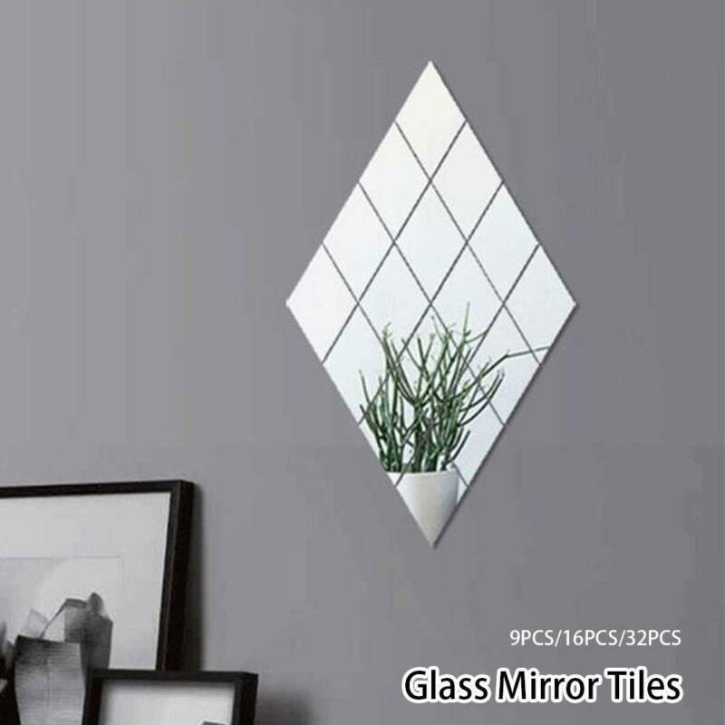 Glass Mirror Tiles Wall Sticker Square, How To Remove Self Adhesive Mirror From Wall