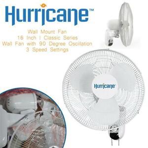 NEW Hurricane Wall Mount Fan - 16 Inch | Classic Series | Wall Fan with 90 Degree Oscillation, 3 Speed Settings, Adju...