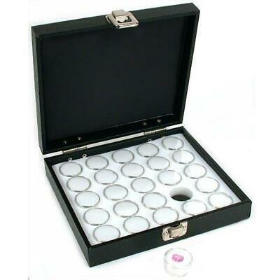 25 Gem Jars White Display Tray Gemstone Travel Case