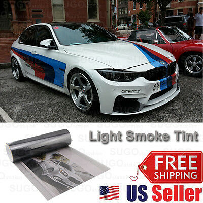 "12""x84"" Gloss Light Black Smoke Tint Film Lens Vinyl Wrap Taillight Headlight"