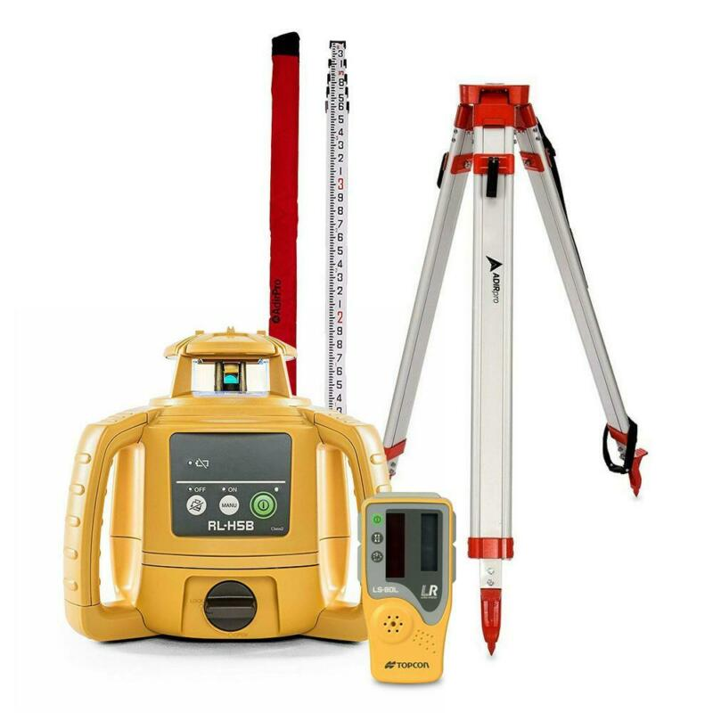 Topcon RL-H5B Construction Rotary Laser Level W/ Grade Rod Inch or 10th, Tripod