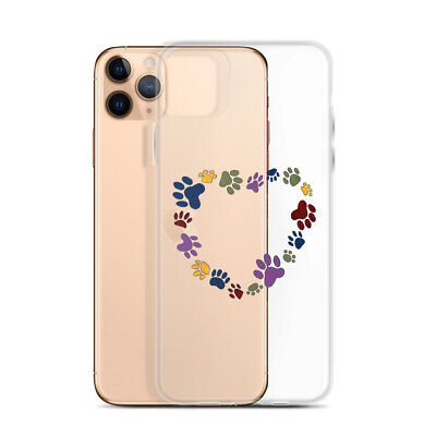 Dog PawPrint Heart- Clear iPhone Cell Phone Case Cover -All