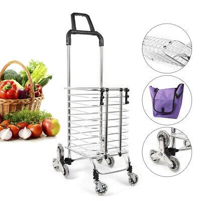 8 Wheels Foldable Shopping Cart Purple Grocery Laundry Basket Trolleybag Us