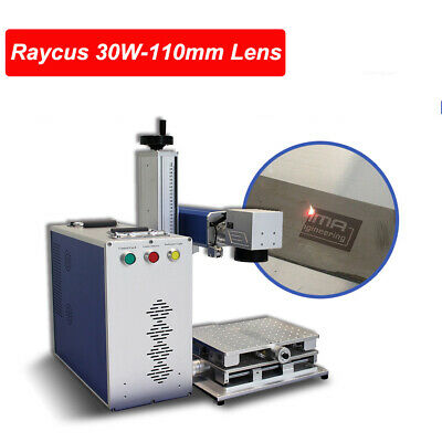 30w Raycus Fiber Laser Marking Machine 110x110mm Laser Engraver With 80mm Rotary