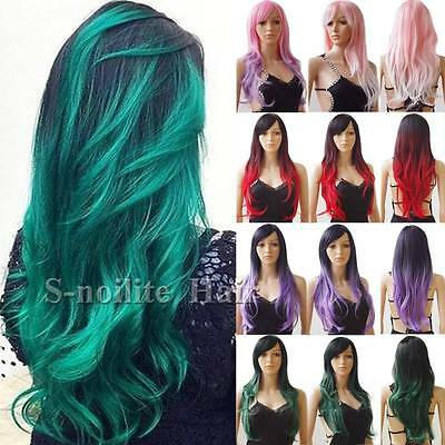 Stylish Women Ombre Cosplay Hair Wig Long Straight Curly Wavy Costume Full Wig # - Costume Wigs For Women
