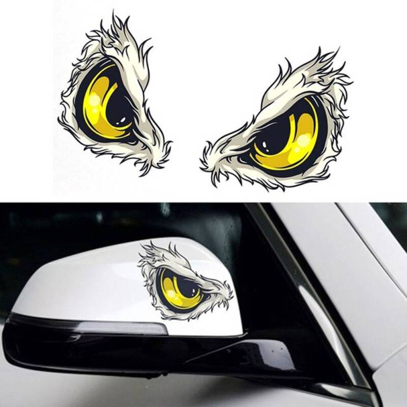 1Pair 3D Stereo Reflective Eyes Car Sticker Car Side Sticker Self-adhesive Decal