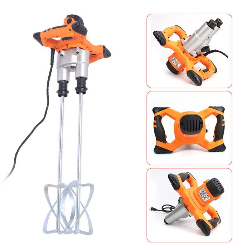 1600W Electric Mortar Mixer Dual High Low Speed Paint Grout w/double agitators