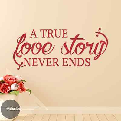A True Love Story Never Ends Vinyl Wall Decal Sticker - A True Love Story Never Ends