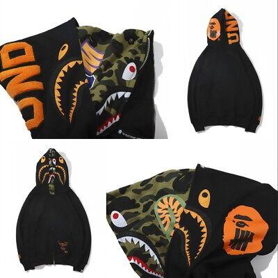 Double Hood Bape A Bathing Ape Hoodie Shark Head Sweatshirt Black Coat Jacket@