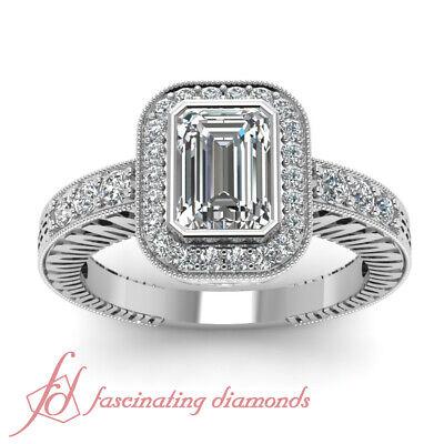 Milgrain Pave Set Engagement Ring 1.15 Ct Emerald Cut Untreated Diamond VS1 GIA 1