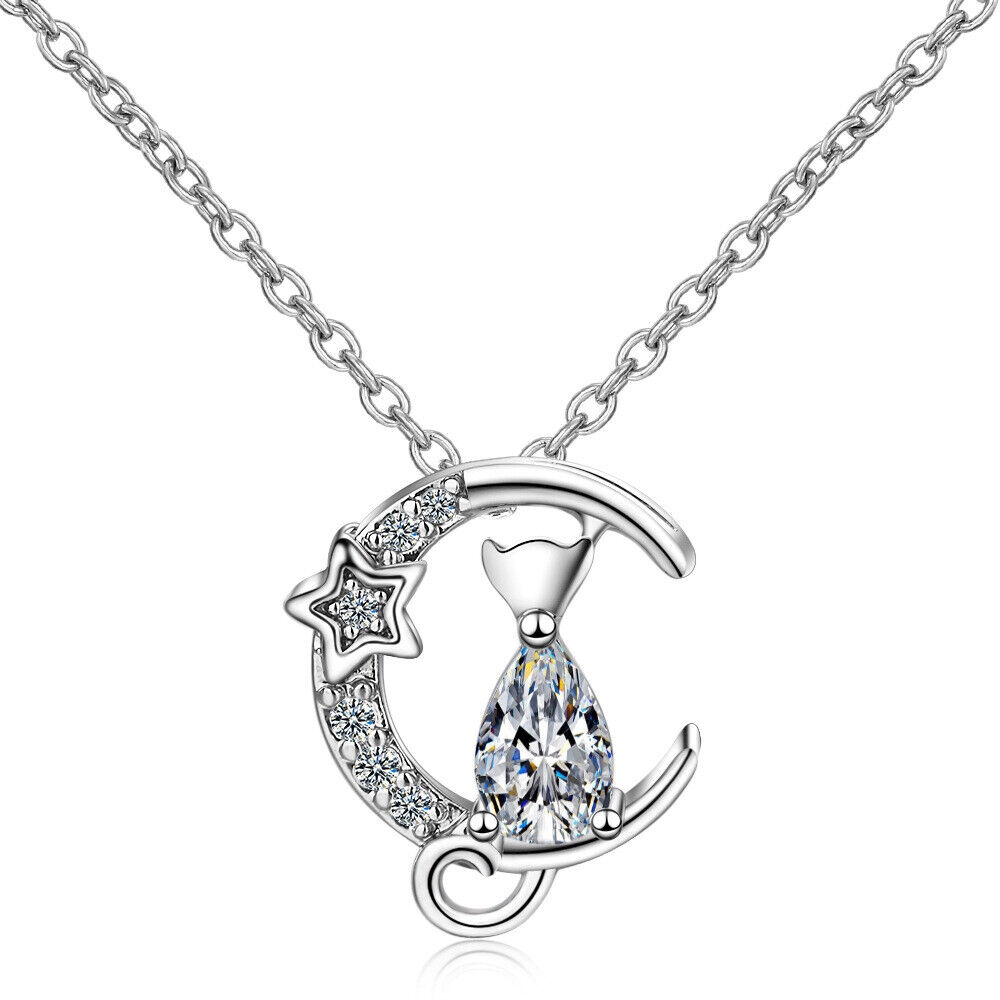 Jewellery - Moon Cat Crystal Stone Pendant Necklace 925 Sterling Silver Womens Jewellery
