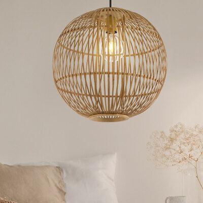 LED Bola Lámpara Colgante Bambus-Geflecht Péndulo Ess Habitación Luz Techo