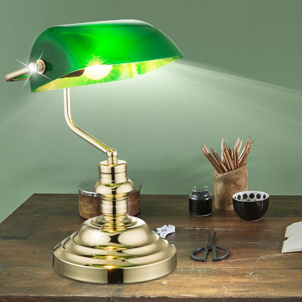Nostalgie Antik Retro Schreib Tisch Leuchte Banker grün Büro klassisch Messing