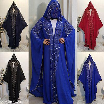 Women Hijab Abaya dress Sequin Beaded Kimono Cardigan Islamic Dubai Muslim dress