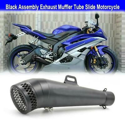 UNIVERSAL BLACK GP EXHAUST MUFFLER PIPE SLIP ON MOTORCYCLE STREET DIRT