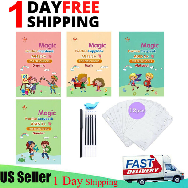 23Pcs Magic Practice Copybook Set Groove Reusable English Calligraphy Book kids