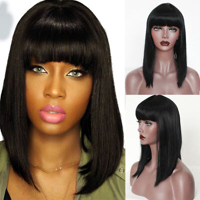 Synthetic Bob Wig Short Straight Full Black Wig with Bangs for Women Fashion Wig (Short Black Wig With Bangs)