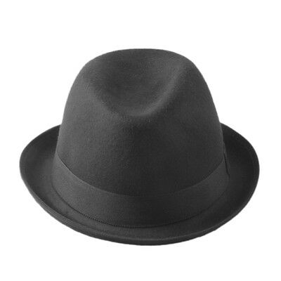 Black Felt Women Men Fold Brim Billycock Sag Top Bowler Derby Jazz Fedora Hat