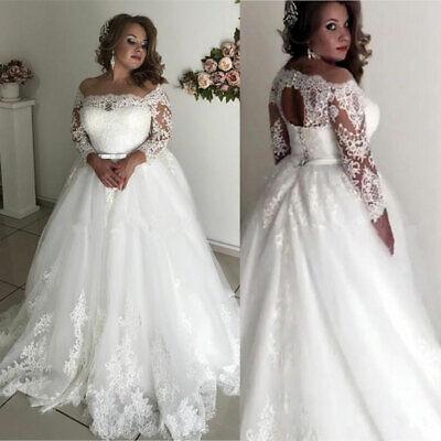 Plus Size Wedding Dresses Bridal Ball Gowns Off the Shoulder Lace Applique White