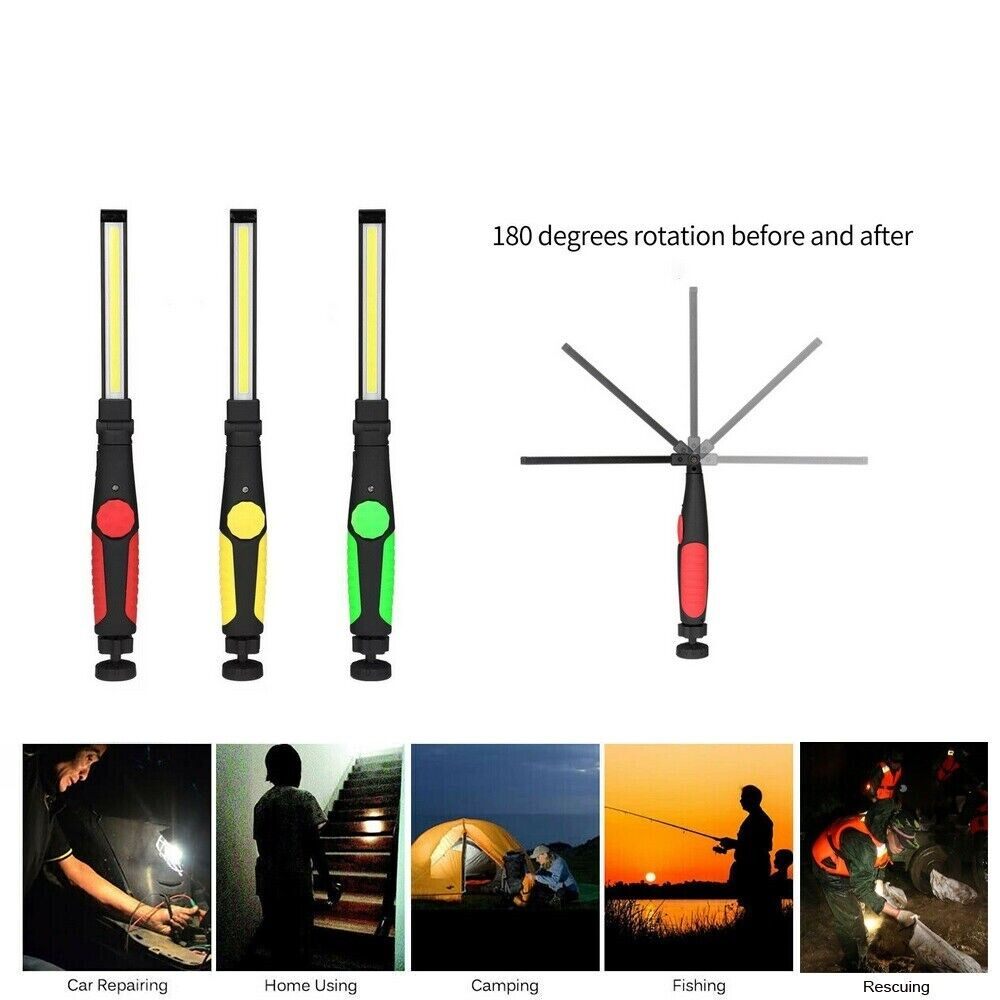 COB LED Rechargeable Flexible Inspection Hand Lamp Torch Wor