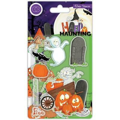HALLOWEEN Happy Haunting Clear Rubber Stamp Set Craft Consortium CCSTMP051 New
