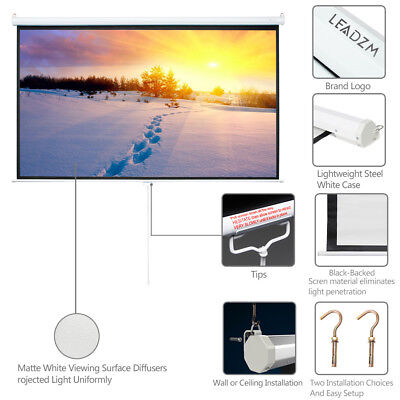 "100"" Projector Screen 16:9 Projection HD Manual Pull Down Home Theater 87"" x 49"""