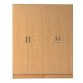 Classic 4 door wardrobe beech effect