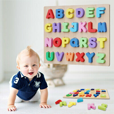 Wooden Alphabet Puzzle Board Educational Early Learning Interest Toy for Toddler