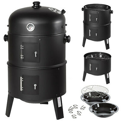 3in1 BBQ Grill a legna e carbone Barbecue Smoker Carbonella Griglia