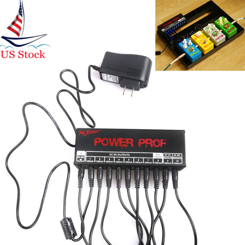 Mr.Power Guitar Pedal Power Supply 10 Outputs for 9V/12V/18V Pedals Stations US