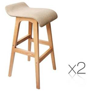 Brand New: 2 x Beech Wood Fabric Bar Stools - Taupe Sydney City Inner Sydney Preview