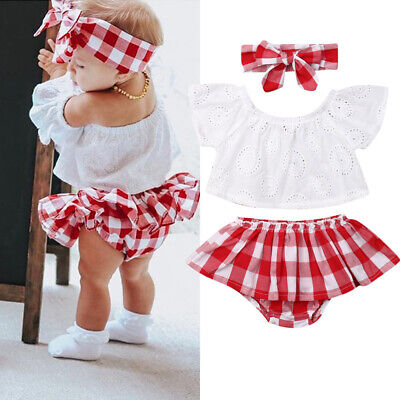Summer Newborn Baby Girl 3pcs Off Shoulder Tops Short Dress Headband Outfits