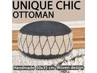 Woven/Knitted Pouffe Jute Cotton 50x30 cm Blue-245094