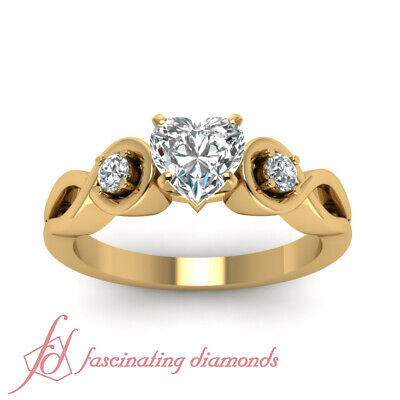 3 Stone Infinity Diamond Engagement Ring With Heart Shaped GIA Certified 0.65 Ct 1