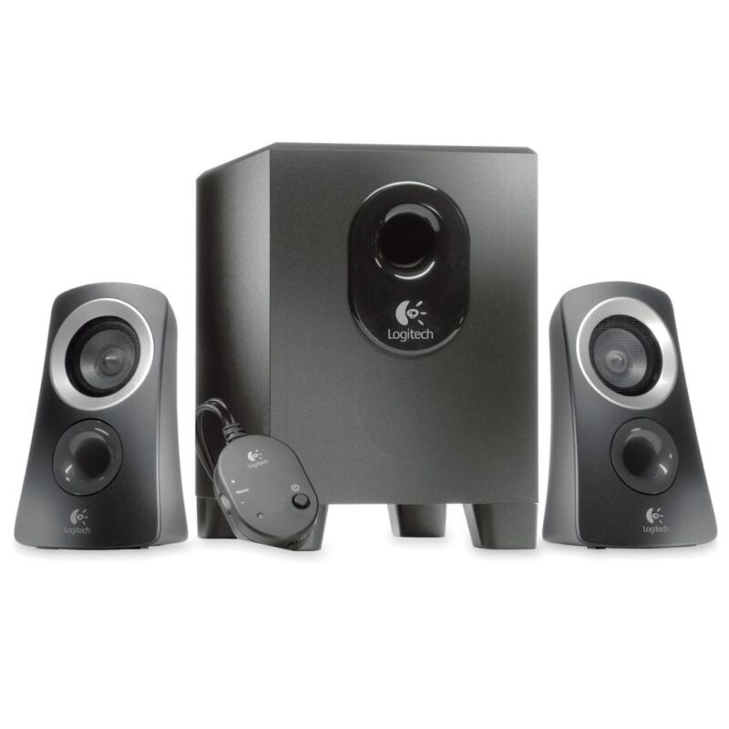 Logitech - Z313 2.1-Channel Speaker System (3-Piece) - Black/Silver