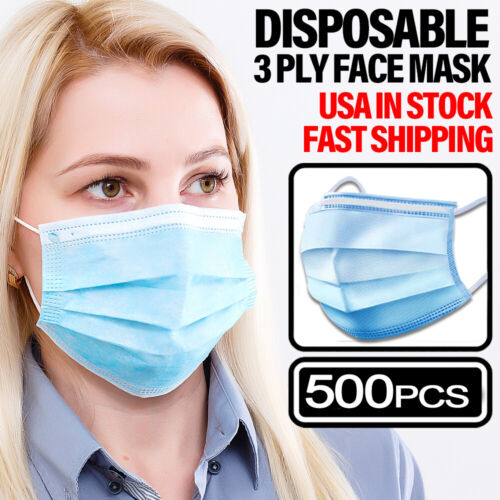 500PCS Face Mask Non Medical Surgical Dental Disposable 3PLY Earloop Mouth Cover Business & Industrial