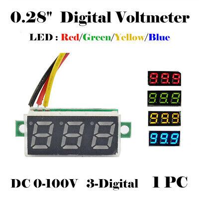 0.28 Mini Led Dc 0-100v Voltmeter 3-digital Display Voltage Volt Meter Motor