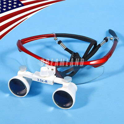 3.5 X 420 Dental Surgical Loupes Medical Binocular Glasses Magnifier Red