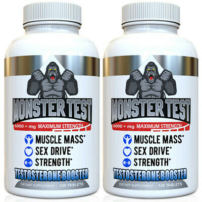 Angry Supplements Monster Test Testosterone Booster All Natural (120-Ct) Bottle