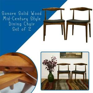 NEW Sonore Solid Wood Mid-Century Style Dining Chair, Set of 2 Condtion: Brand new. One corner is slightly damaged