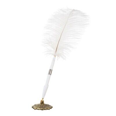 Victoria Lynn White Feather Plume Pen with Holder Wedding Ceremony Reception New